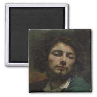 Self Portrait or, The Man with a Pipe, c.1846 2 Inch Square Magnet