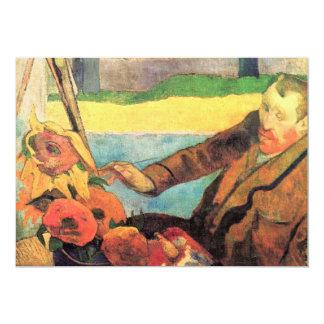 Self Portrait painting Sunflowers by van Gogh Card