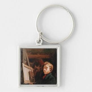 Self Portrait Silver-Colored Square Keychain