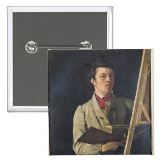 Self Portrait, Sitting next to an Easel, 1825 Button