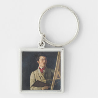 Self Portrait, Sitting next to an Easel, 1825 Keychain