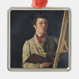 Self Portrait, Sitting next to an Easel, 1825 Metal Ornament