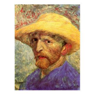 Self-Portrait Straw Hat (F526)Van Gogh Fine Art Postcard
