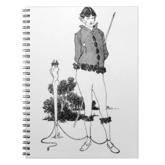 Self Portrait Tied to a Herm (engraving) (b&w phot Notebook