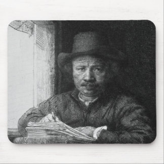 Self portrait while drawing, 1648 mouse pad