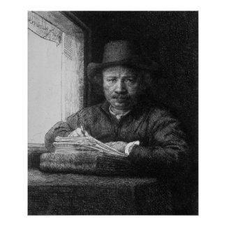 Self portrait while drawing, 1648 poster