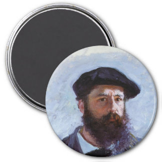 Self Portrait with a Beret 3 Inch Round Magnet