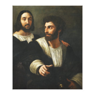 Self-portrait with a friend by Raphael Canvas Print