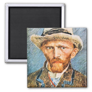 Self-portrait with a gray felt hat by van Gogh Magnet