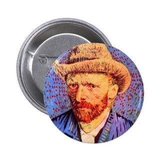 Self-portrait with a gray felt hat by van Gogh Pinback Button