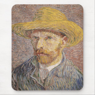 Self Portrait with a Straw Hat by Vincent van Gogh Mouse Pad