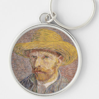 Self Portrait with a Straw Hat by Vincent van Gogh Silver-Colored Round Keychain