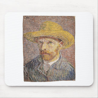 Self-Portrait with a Straw Hat - Van Gogh Mouse Pad