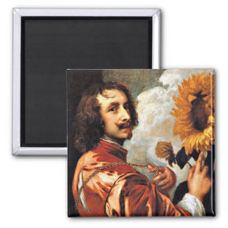 Self-Portrait with a Sunflower, 1632 artwork 2 Inch Square Magnet