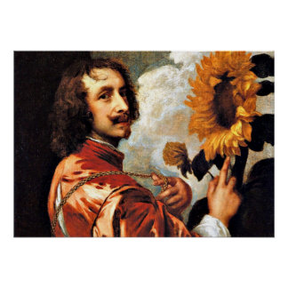 Self-Portrait with a Sunflower, 1632 artwork Poster