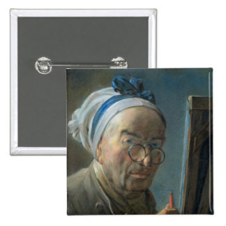Self Portrait with an Easel, c.1775-79 2 Inch Square Button