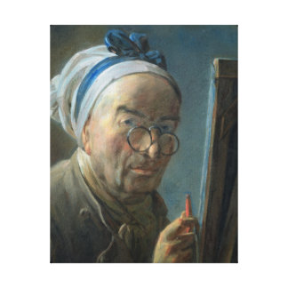 Self Portrait with an Easel, c.1775-79 Canvas Print