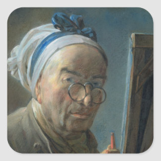 Self Portrait with an Easel, c.1775-79 Square Sticker