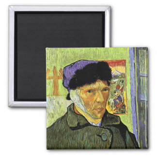 Self-Portrait with Bandaged Ear Van Gogh Fine Art 2 Inch Square Magnet