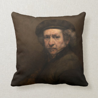 Self-Portrait with Beret and Turned-Up Collar Throw Pillow