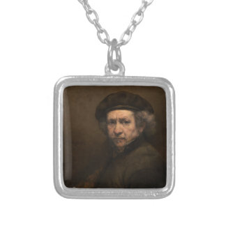 Self-Portrait with Beret by Rembrandt Silver Plated Necklace