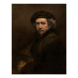 Self-Portrait with Beret by Rembrandt, Small Posters