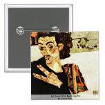 Self-Portrait With Black Clay Pot By Schiele Egon 2 Inch Square Button
