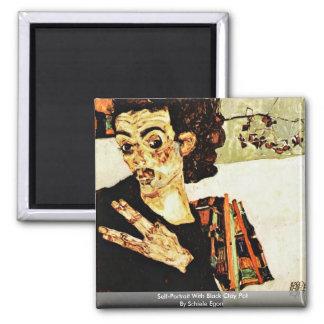 Self-Portrait With Black Clay Pot By Schiele Egon Magnets