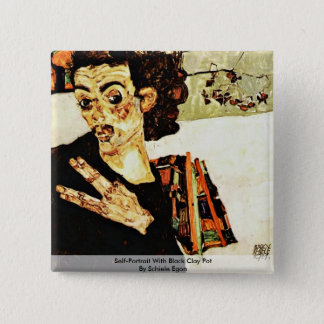 Self-Portrait With Black Clay Pot By Schiele Egon Pinback Button
