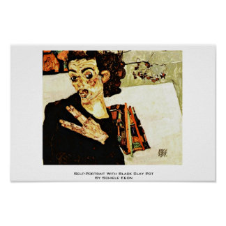 Self-Portrait With Black Clay Pot By Schiele Egon Posters