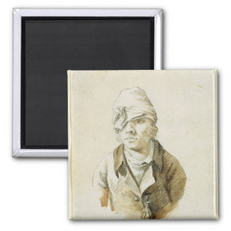 Self Portrait with Cap and Eye Patch 2 Inch Square Magnet