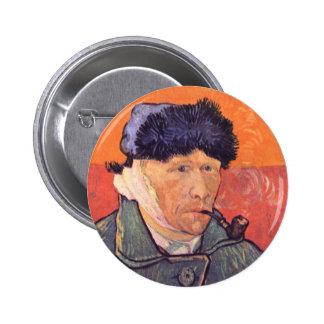 Self-Portrait with cut ear by Vincent van Gogh Pinback Buttons