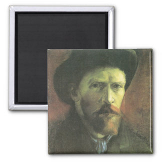 Self-portrait with dark felt hat by van Gogh 2 Inch Square Magnet
