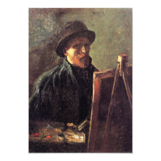 Self-Portrait with Dark Felt Hat by Vincent van Go 5x7 Paper Invitation Card