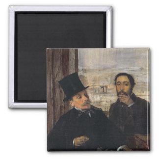 Self Portrait with Evariste de Valernes  c.1865 2 Inch Square Magnet