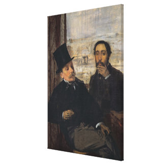 Self Portrait with Evariste de Valernes  c.1865 Canvas Print