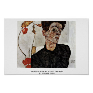 Self-Portrait With Fruit Lantern By Schiele Egon Print