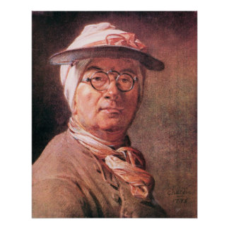 Self-portrait with glasses by Jean Chardin Poster