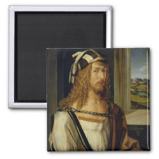 Self Portrait with Gloves, 1498 2 Inch Square Magnet