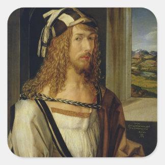 Self Portrait with Gloves 1498 Square Sticker