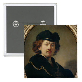 Self Portrait with Hat and Gold Chain, 1633 Pinback Button