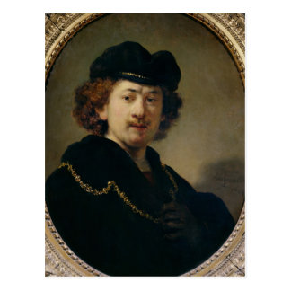 Self Portrait with Hat and Gold Chain, 1633 Postcard