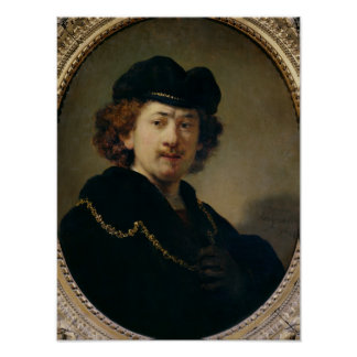 Self Portrait with Hat and Gold Chain, 1633 Poster