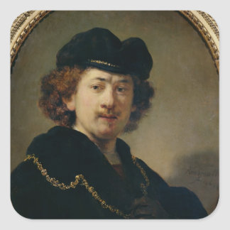 Self Portrait with Hat and Gold Chain, 1633 Square Sticker