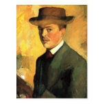Self-Portrait with Hat by August Macke Postcard