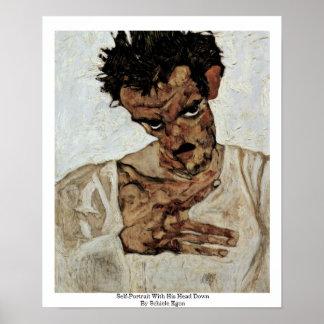 Self-Portrait With His Head Down By Schiele Egon Print