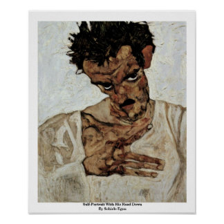 Self-Portrait With His Head Down By Schiele Egon Posters