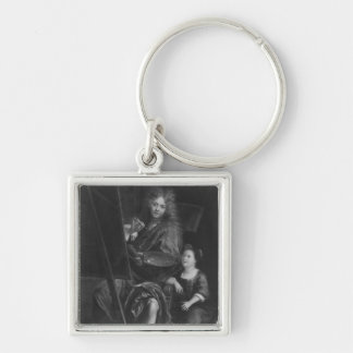 Self portrait with his son Charles Keychain