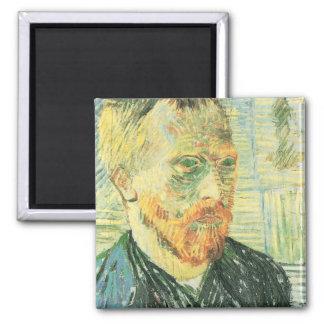 Self-portrait with Japanese woodblock - van Gogh Fridge Magnet