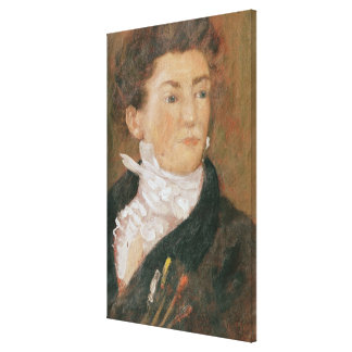 Self portrait with paintbrushes canvas print